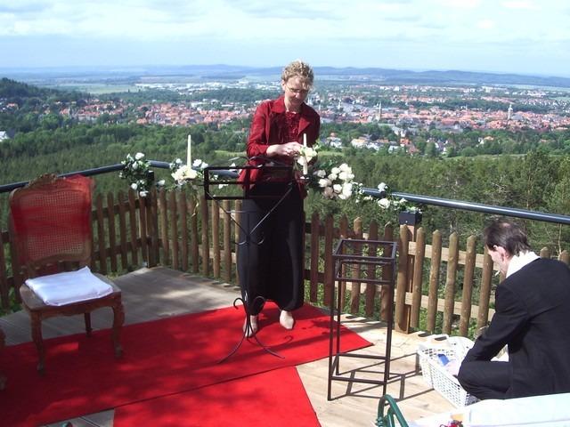 IMGP1315 - Astrid und Willi auf der Terrasse des Maltermeister Turm Goslar